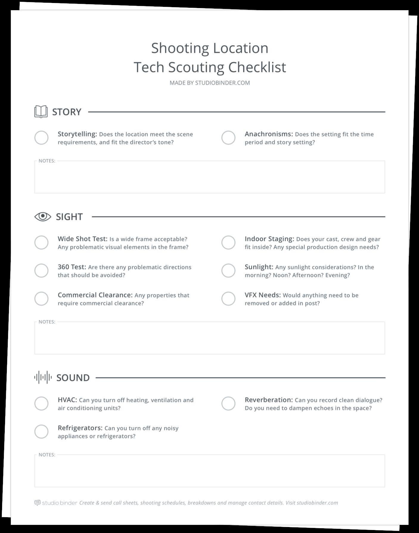 Location Tech Scouting Checklist - Stack - StudioBinder