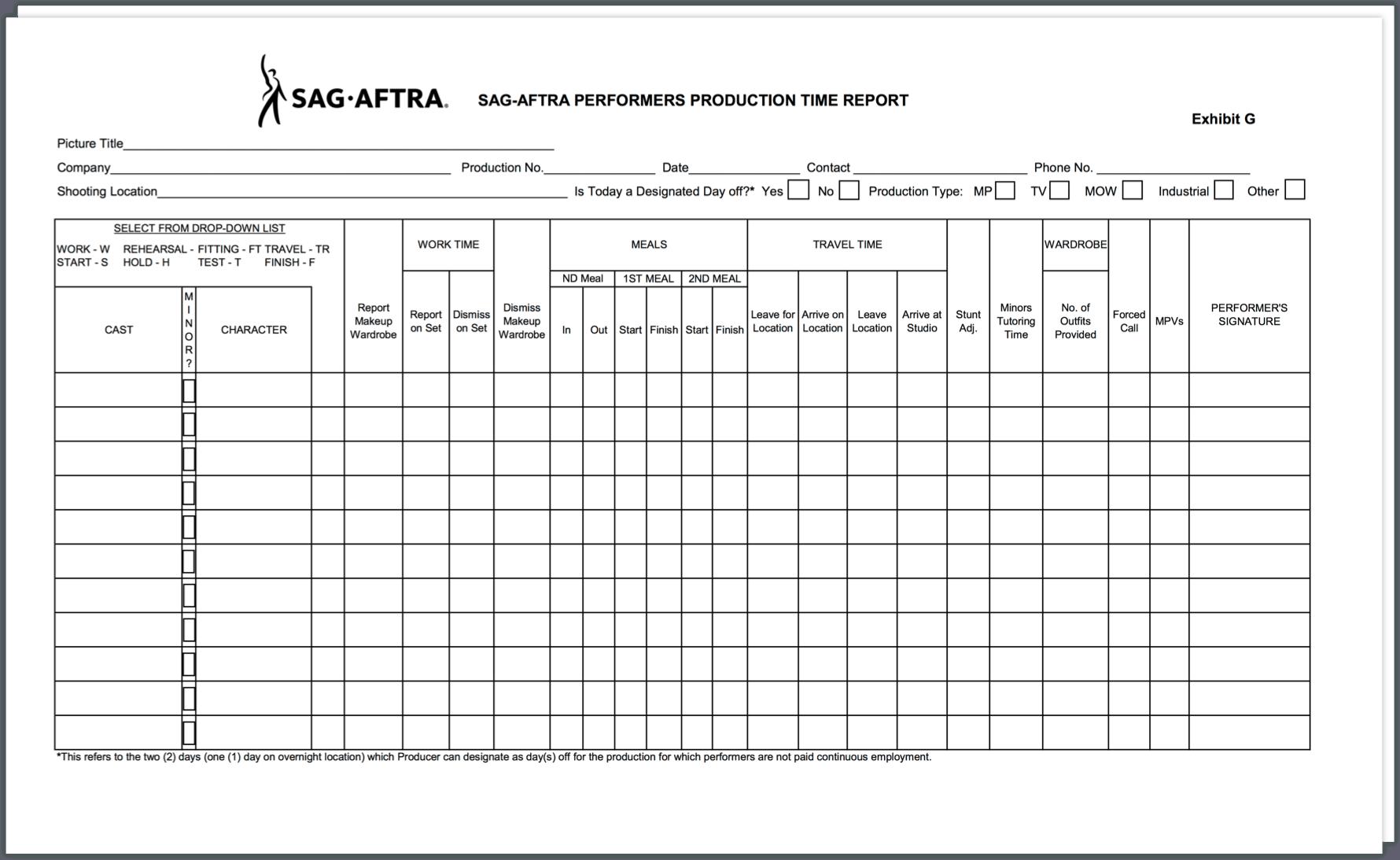 SAG Exhibit G Example - StudioBinder