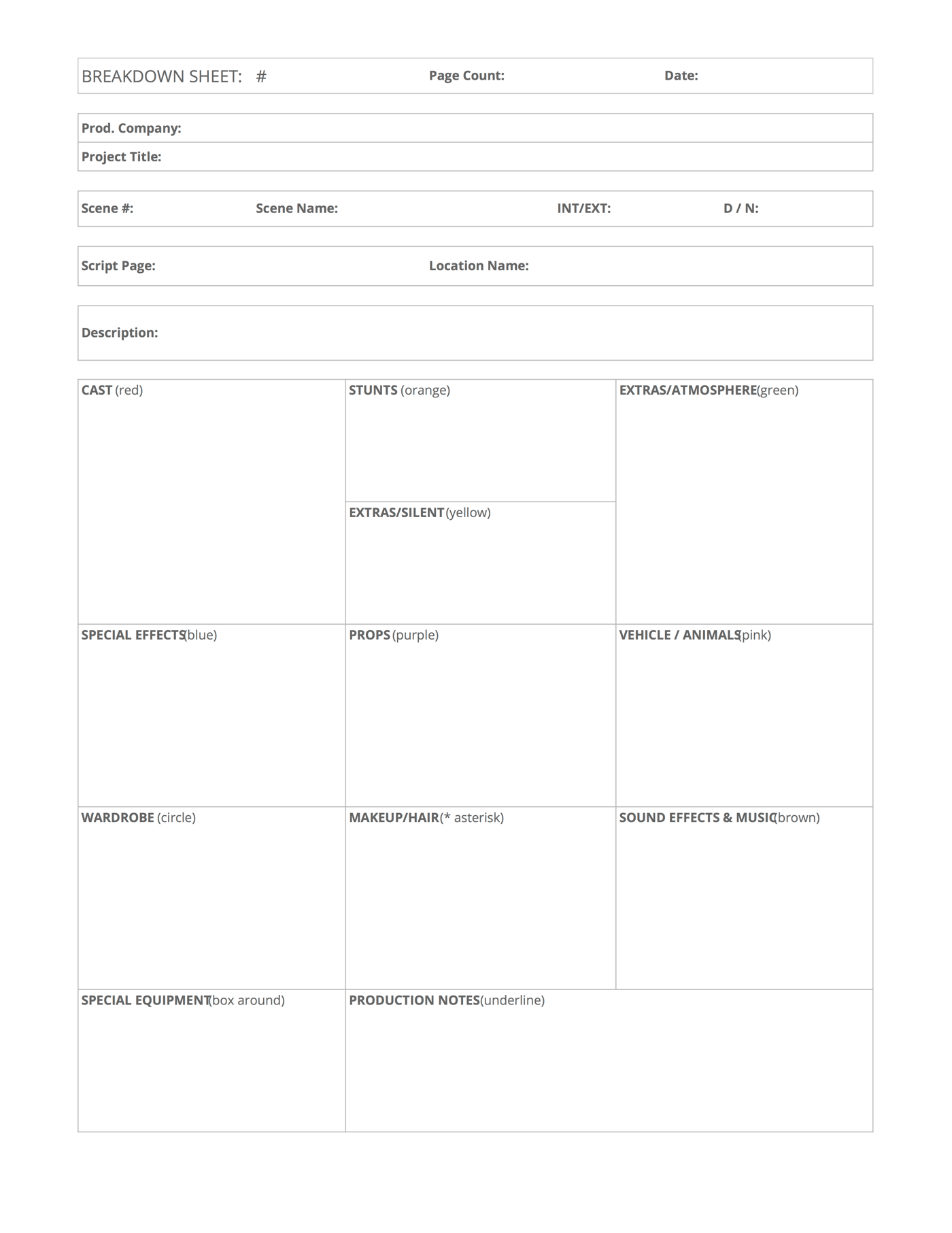 Download free script breakdown sheet template for Free movie script template
