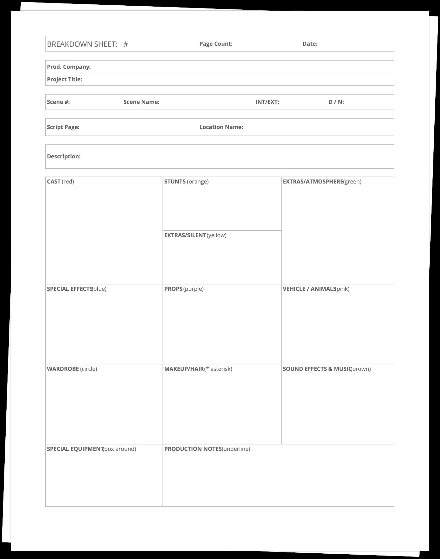 Script Breakdown Sheet Template - Stack - StudioBinder