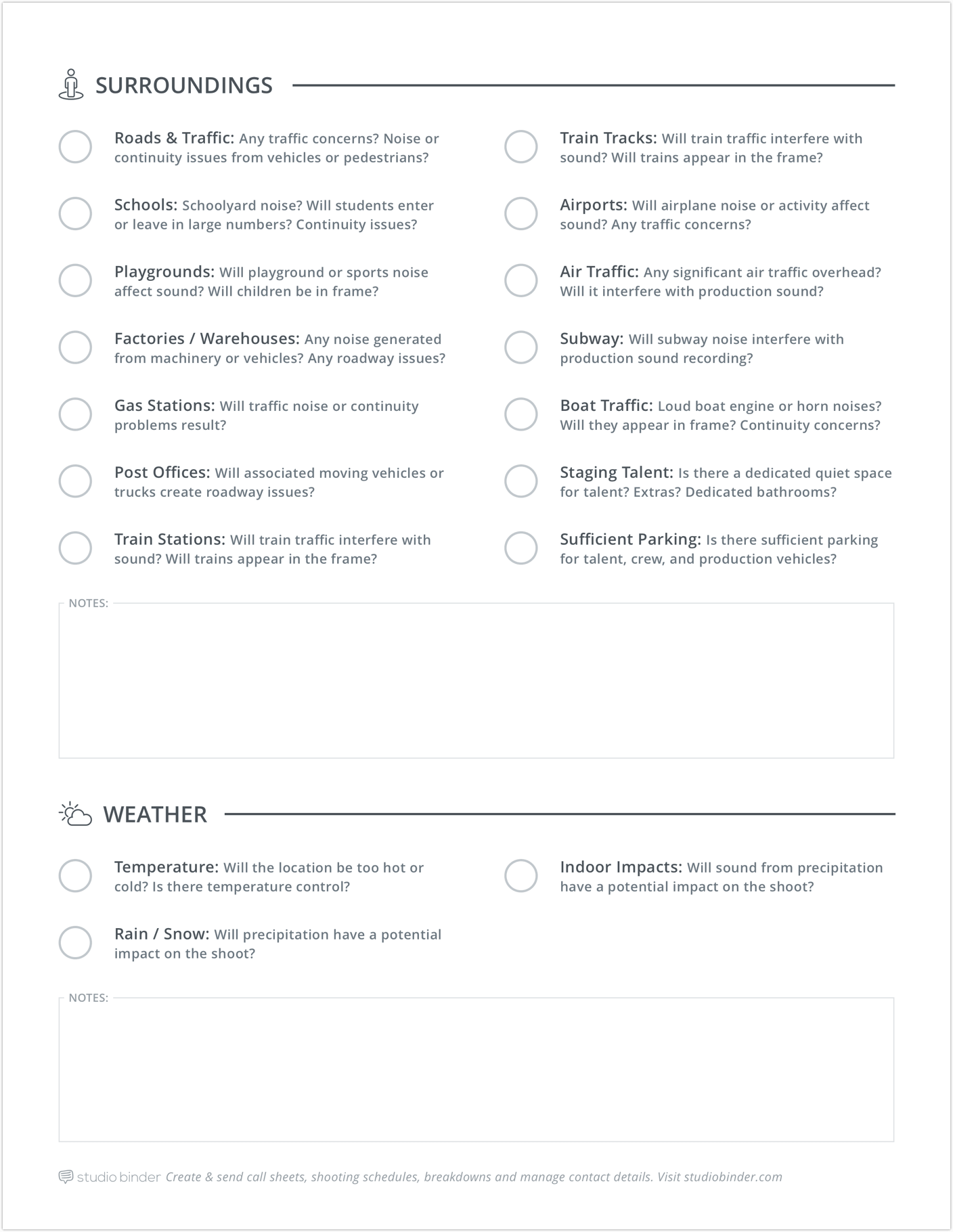 Shooting Location Tech Scouting Checklist - Page 2