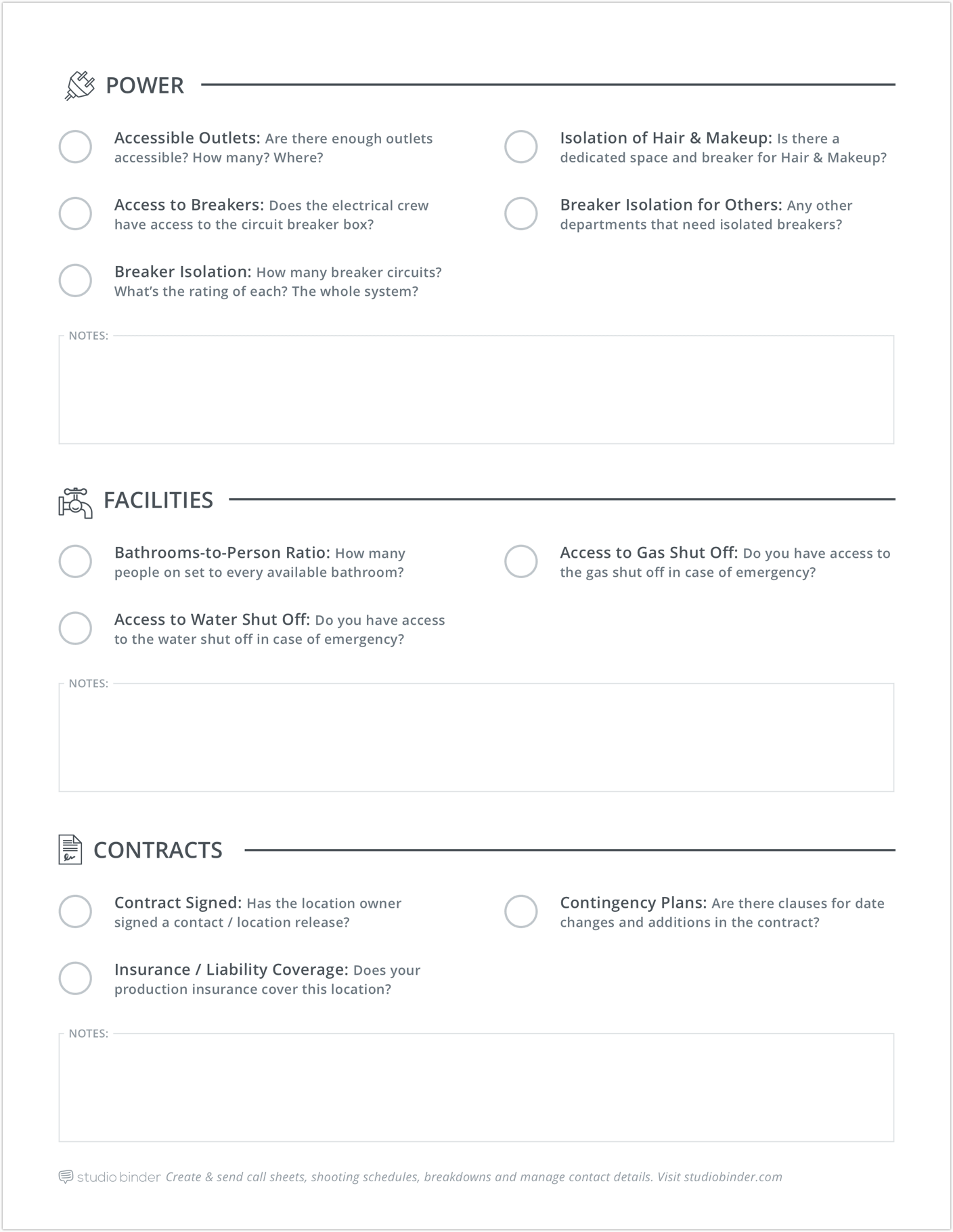 Shooting Location Tech Scouting Checklist - Page 3
