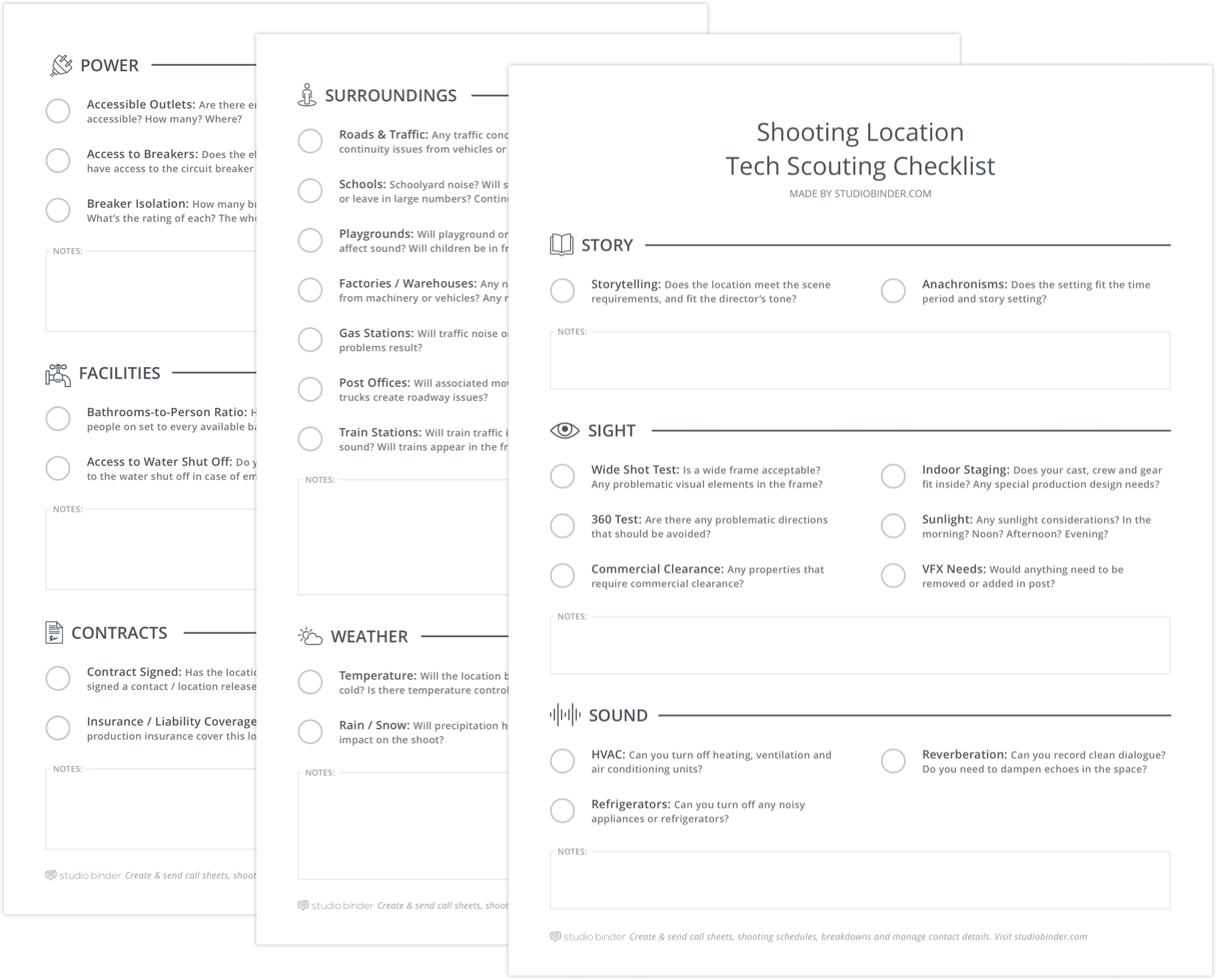 The ultimate location tech scouting checklist for producers and ads shooting location tech scouting checklist stacked studiobinder pronofoot35fo Image collections