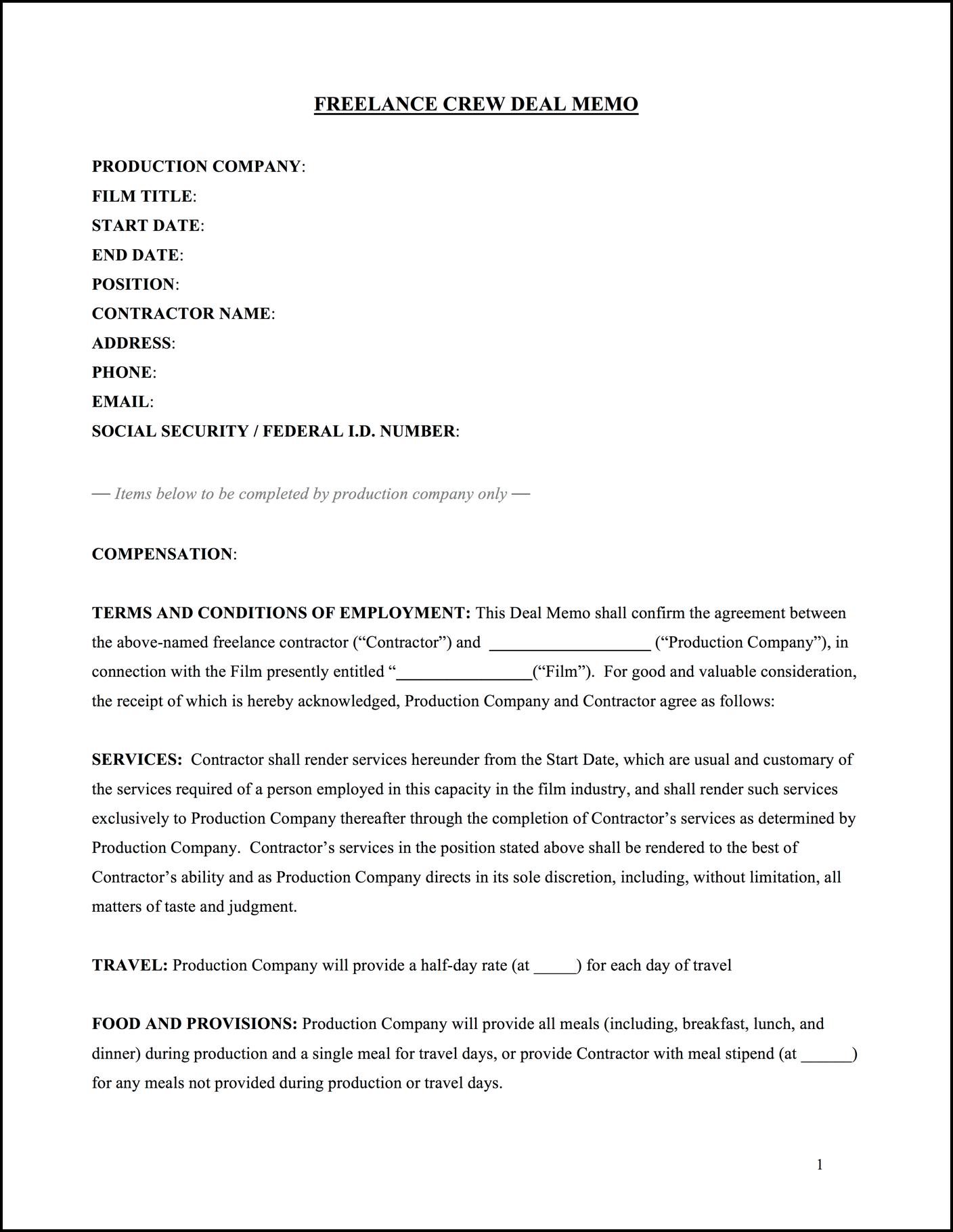 FREE Crew Deal Memo Template