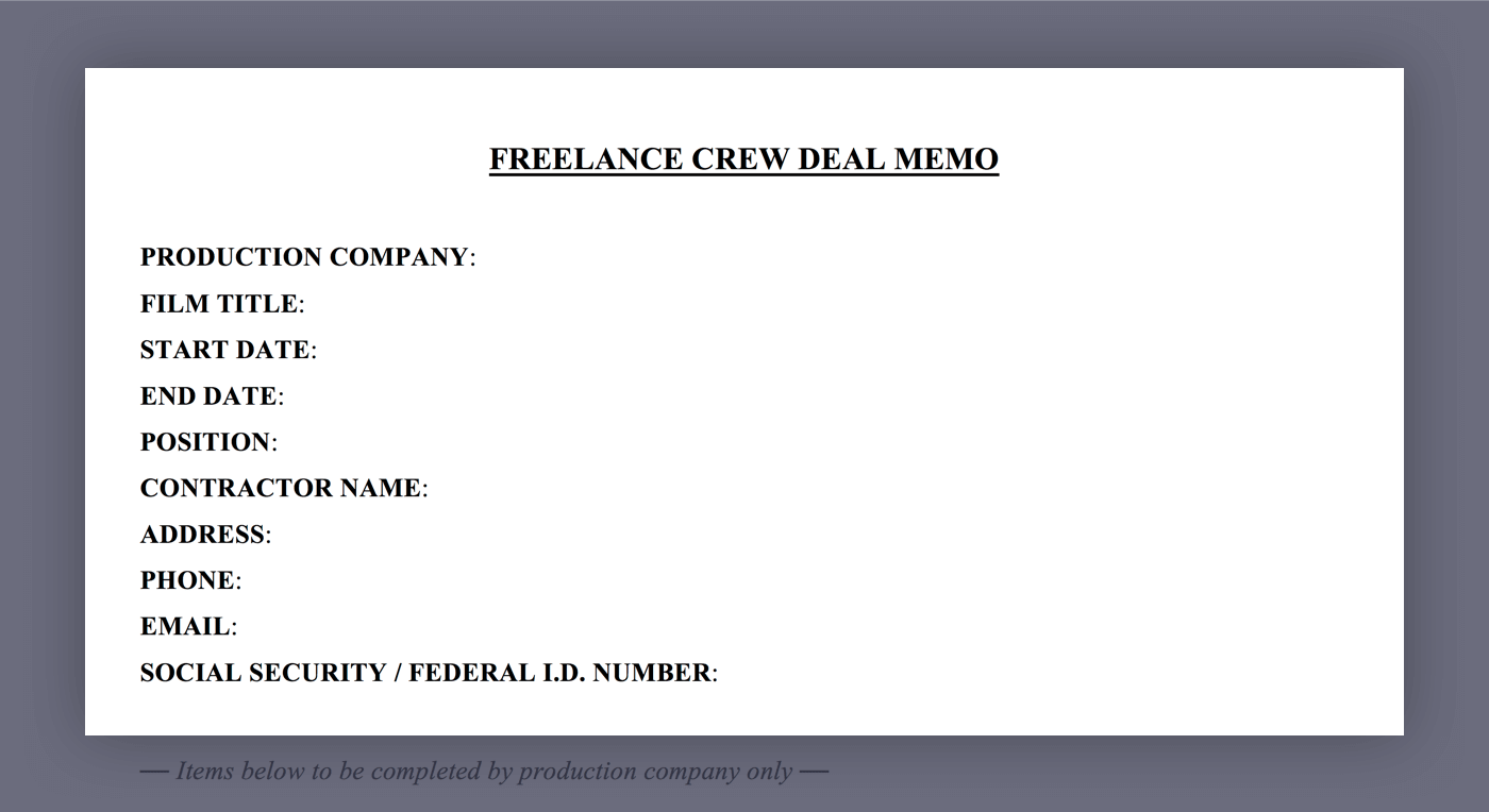 mastering the crew deal memo template mastering the crew deal memo template 01 general information studiobinder