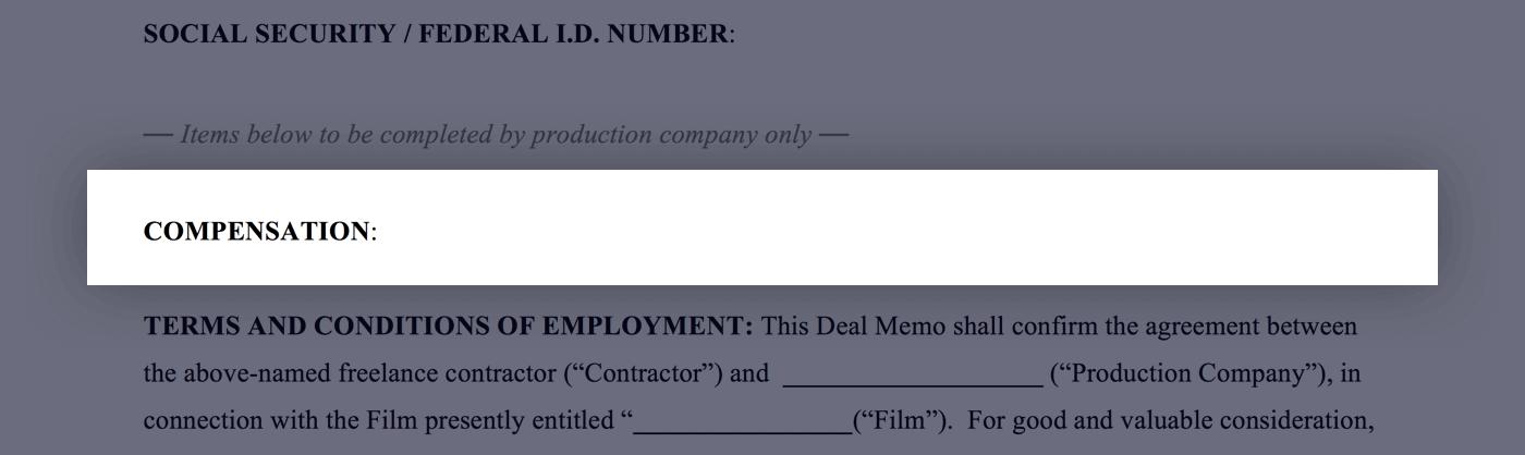 Mastering the Crew Deal Memo Template - 02 - Compensation - StudioBinder