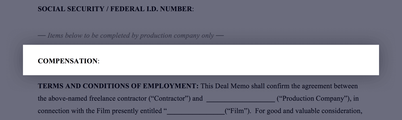 Mastering the Crew Deal Memo Template - 02 - Compensation - StudioBinder