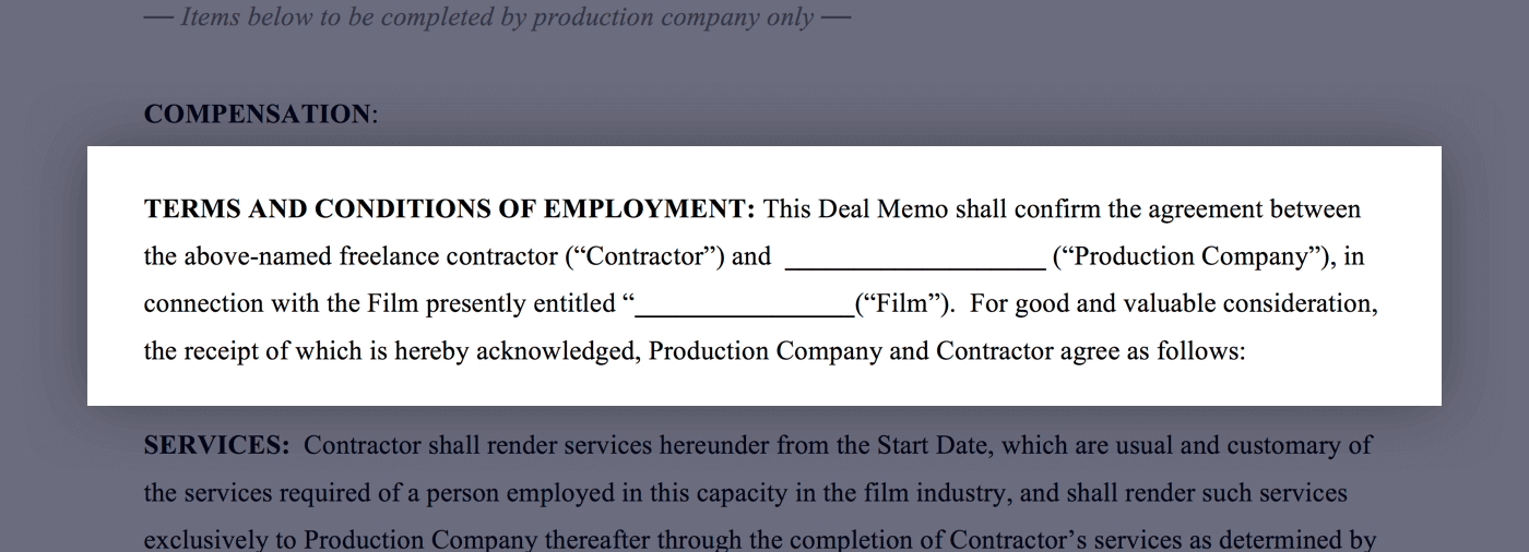 Mastering the Crew Deal Memo Template - 03 - Terms and Conditions of Employment - StudioBinder