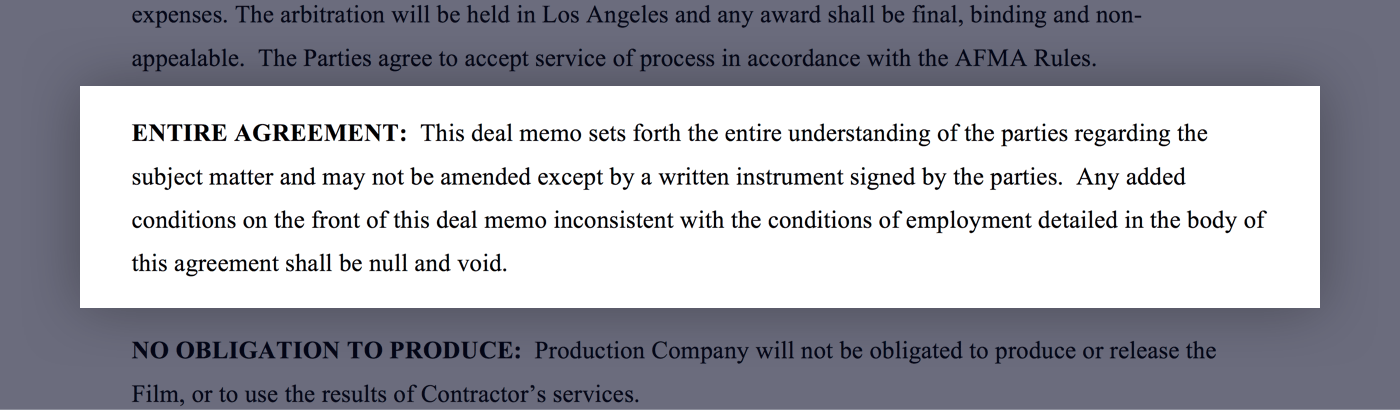 Mastering the Crew Deal Memo Template - 21 - Entire Agreement - StudioBinder
