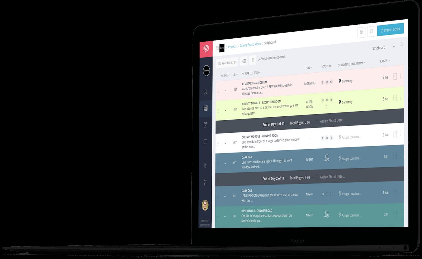 StudioBinder Stripboard Shooting Schedule Builder - Production Scheduling Software