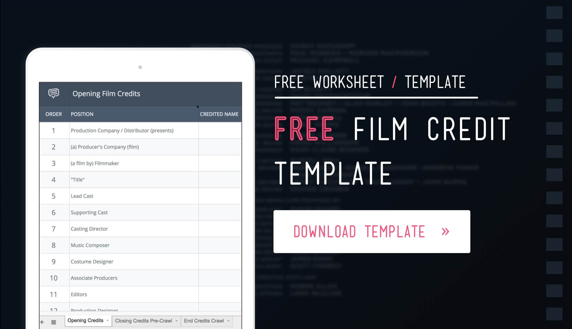 Download Free Film Credits Order Template and Worksheet - Featured - StudioBinder