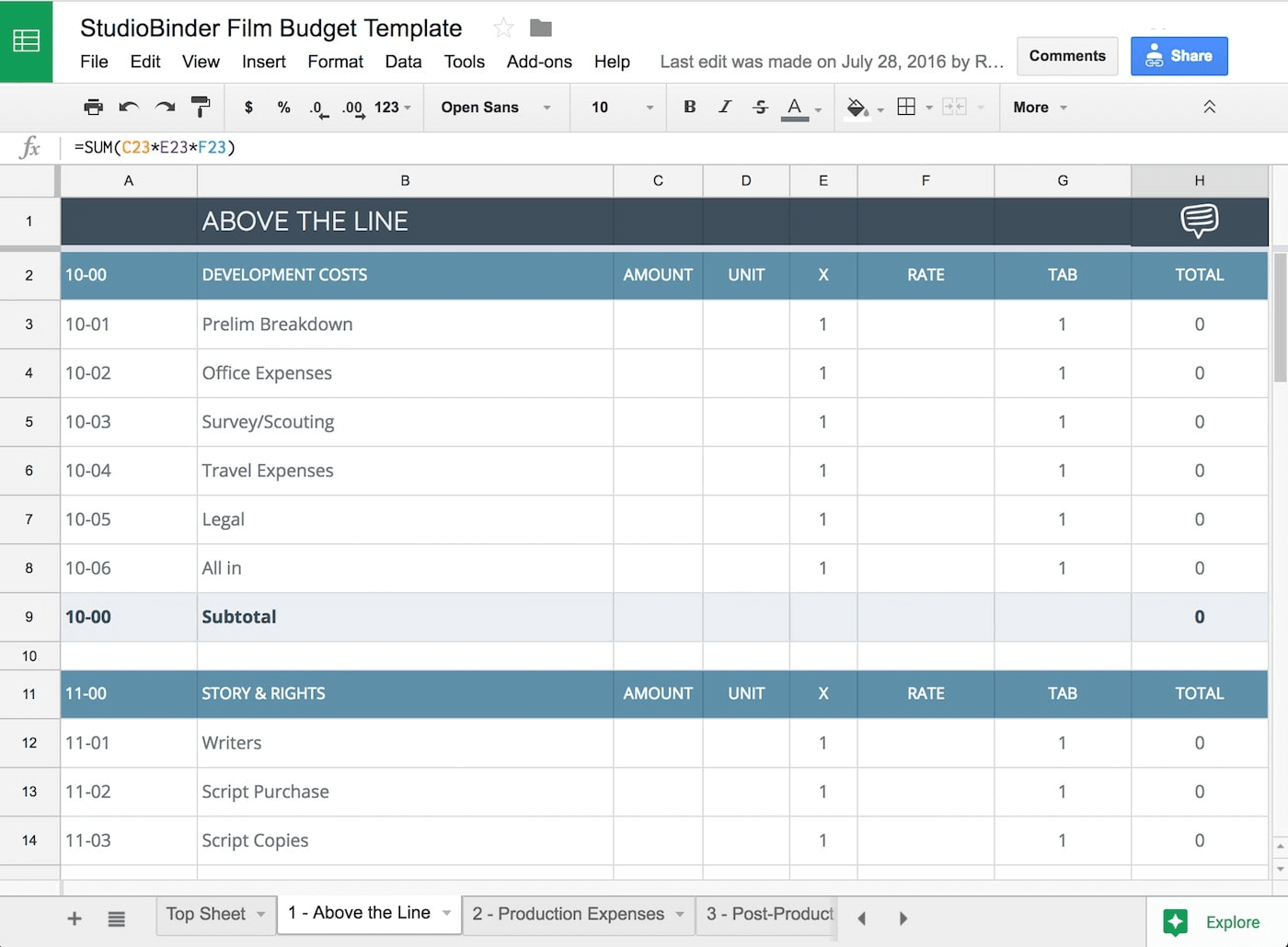Download your FREE Film Budget Template for Film & Video Production