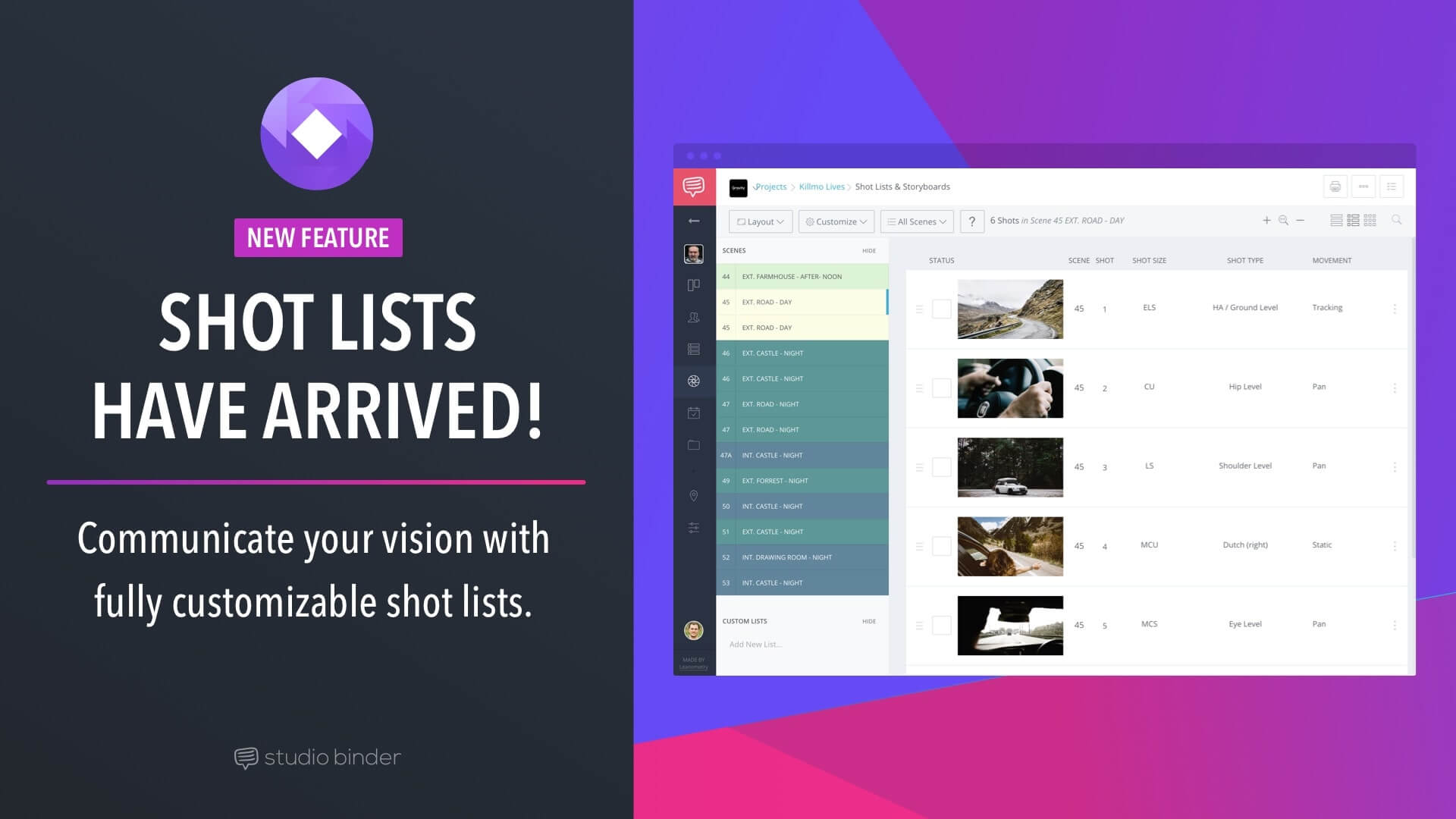 Introducing Shot Lists - Complete Customization, Intuitive Interface - Featured - StudioBinder
