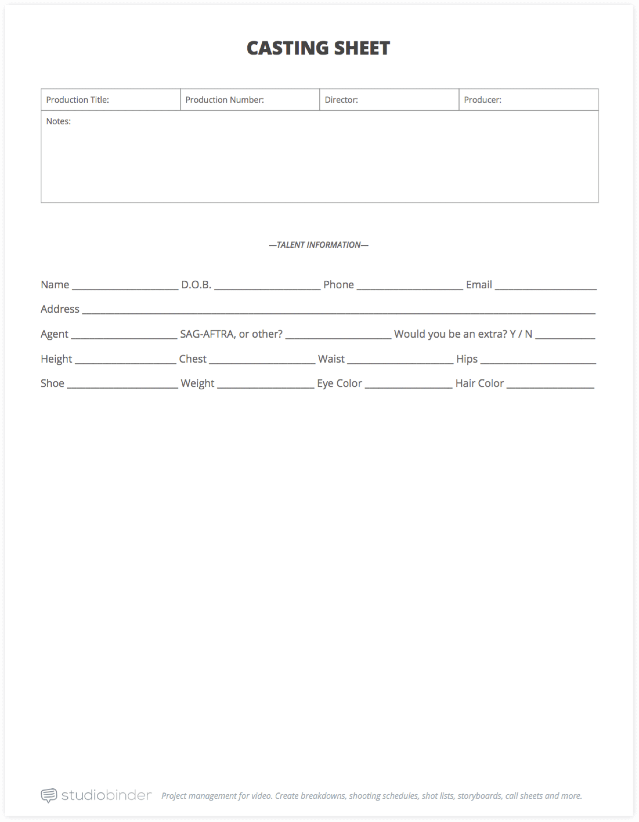 How to Run an Open Casting Call (with FREE Casting Sheet Template) - Casting Sheet