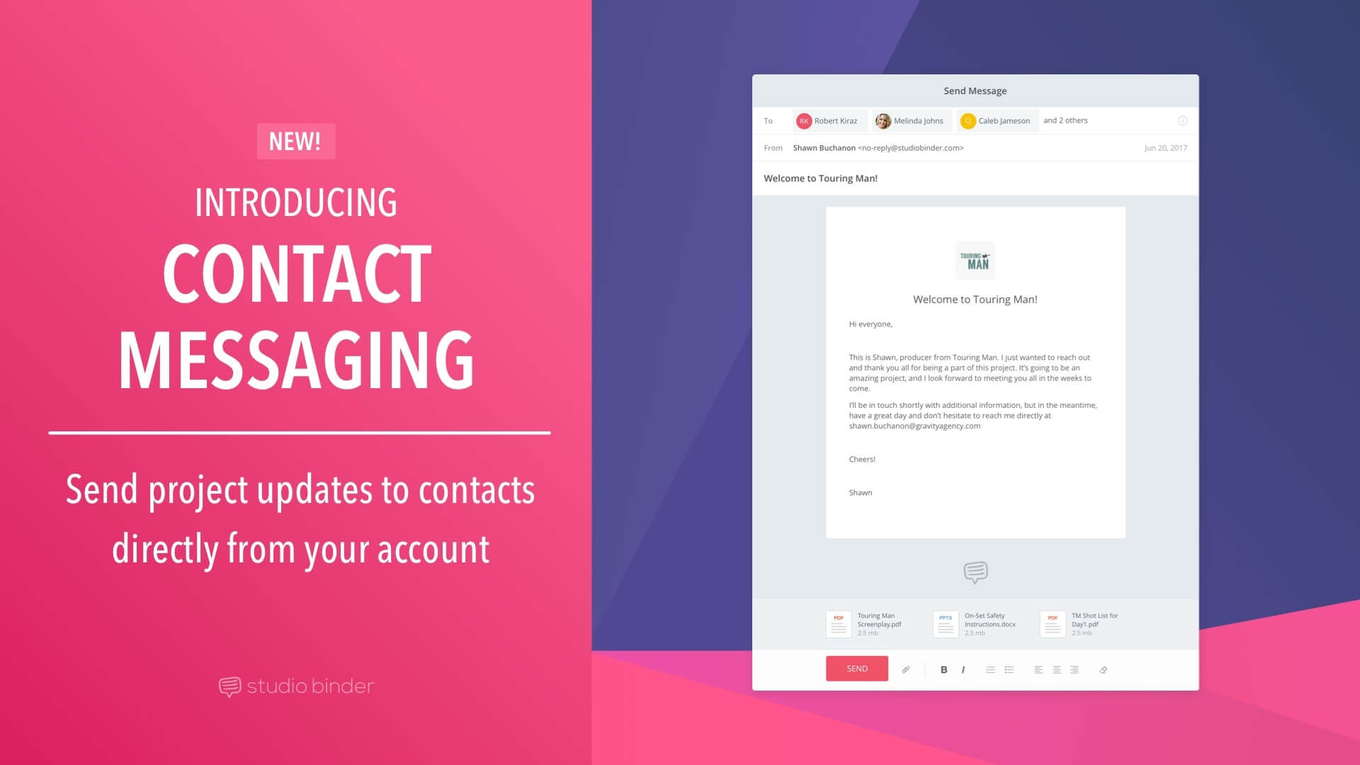 New Release - Introducing Contact Messaging - Featured - StudioBinder