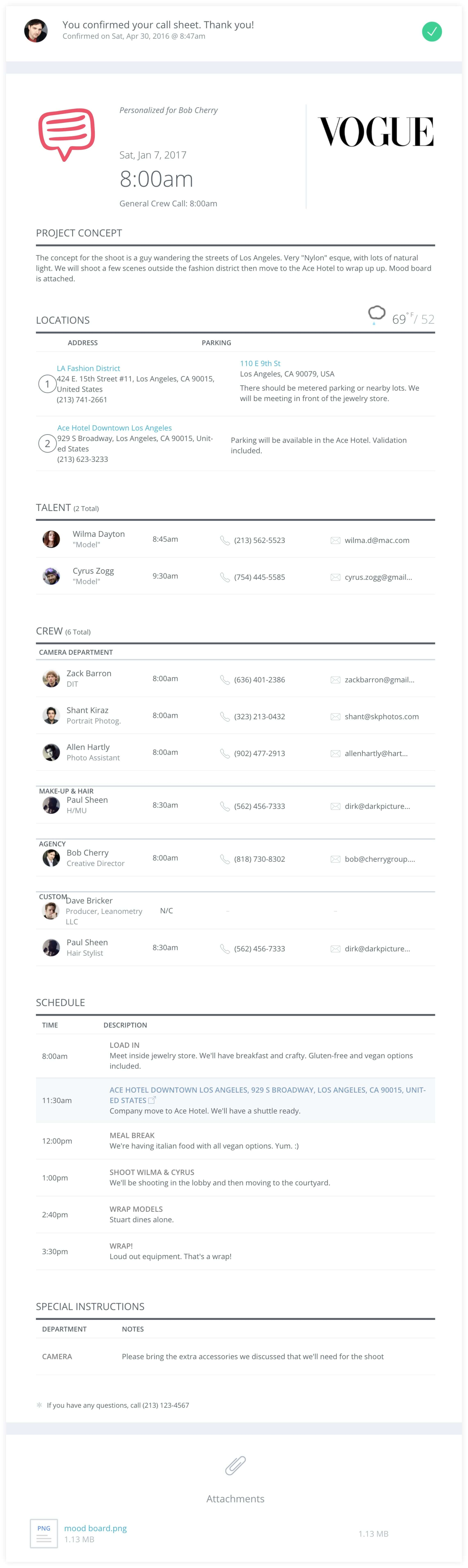 Photoshoot Call Sheet Template - StudioBinder - Desktop