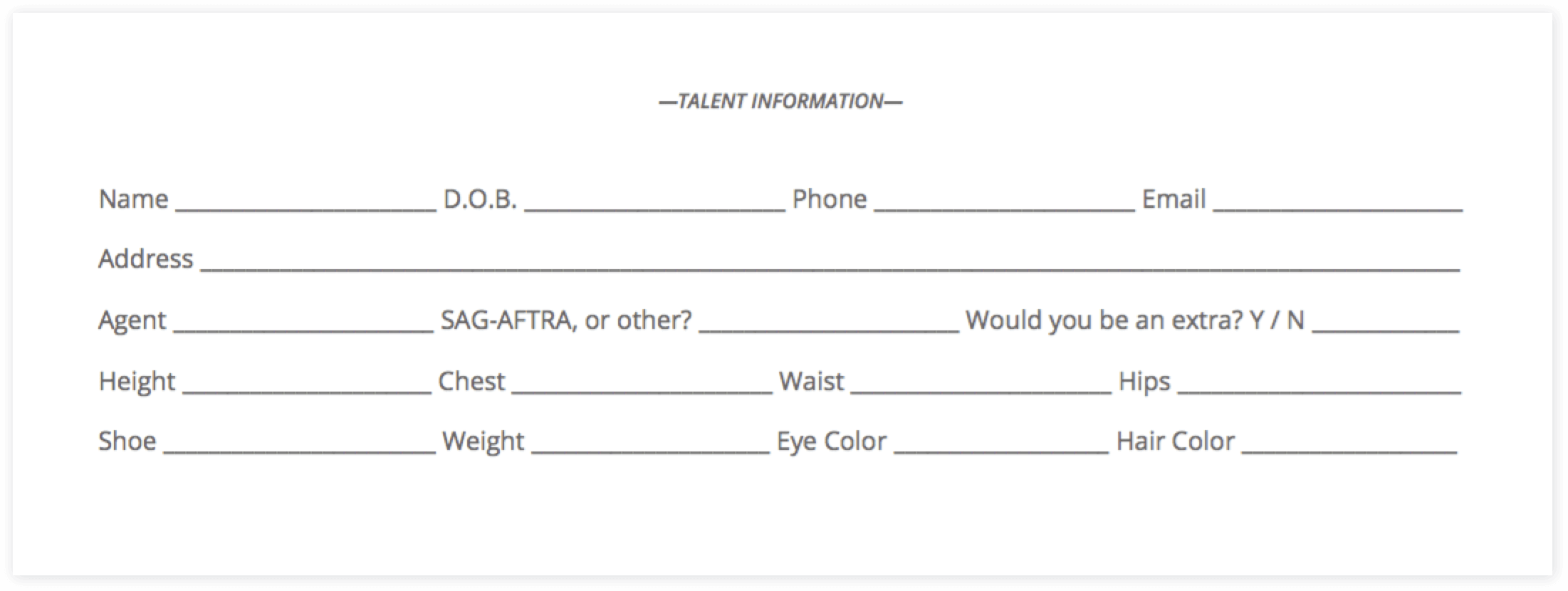The Ultimate Guide to Casting Auditions (with FREE Casting Sheet Template) - Casting Sheet Bottom Half