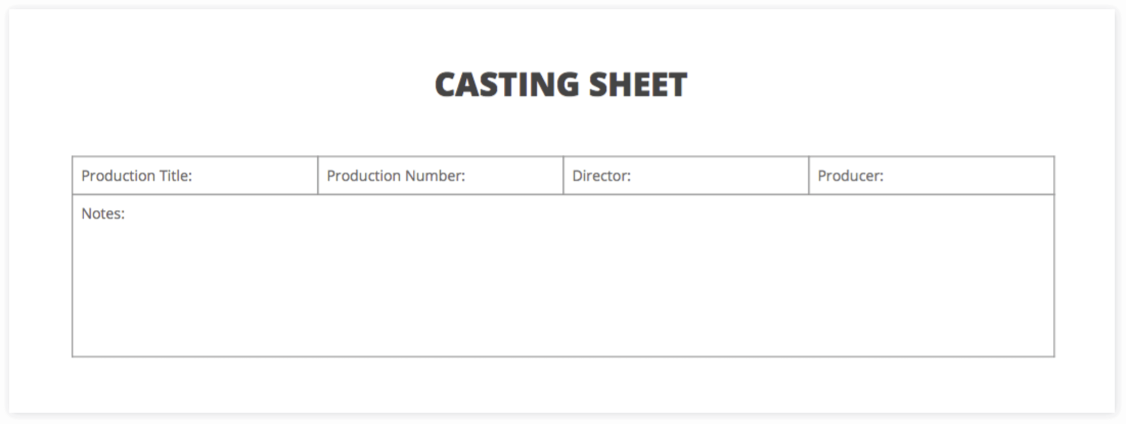 The Ultimate Guide to Casting Auditions (with FREE Casting Sheet Template) - Casting Sheet Top Half