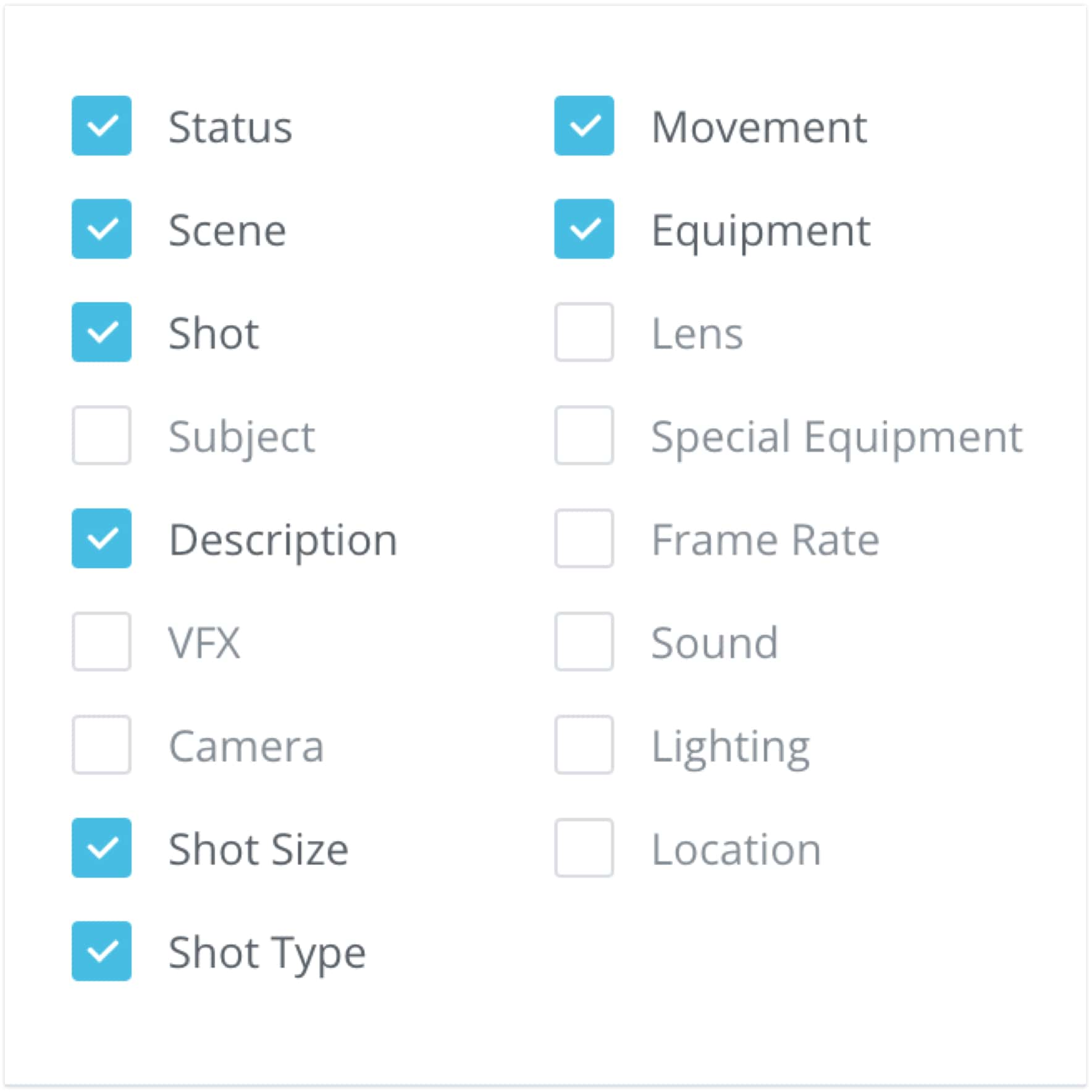 Introducing Shot List and Storyboard Reports - Camera angle specifications