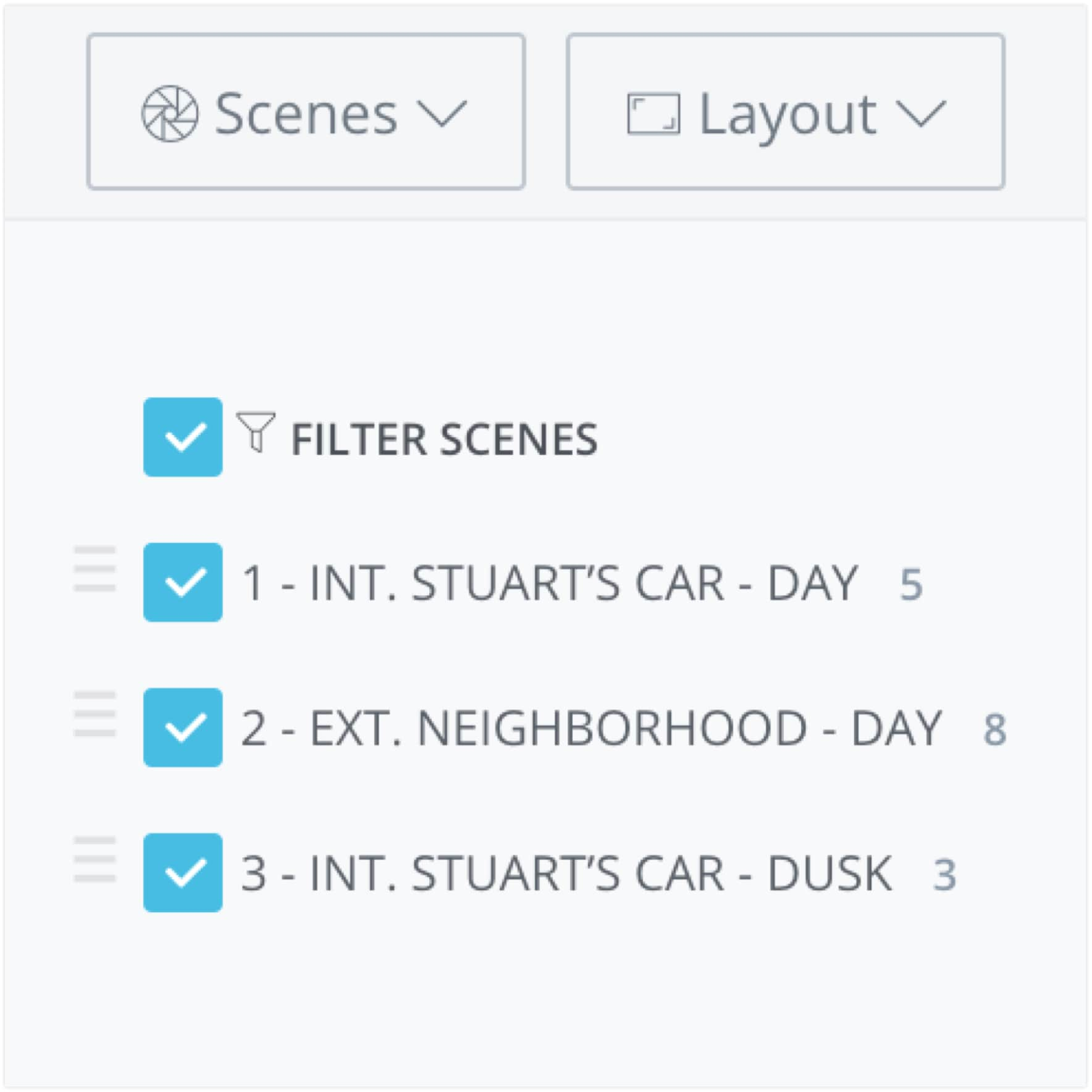 Introducing Shot List and Storyboard Reports - Filtering
