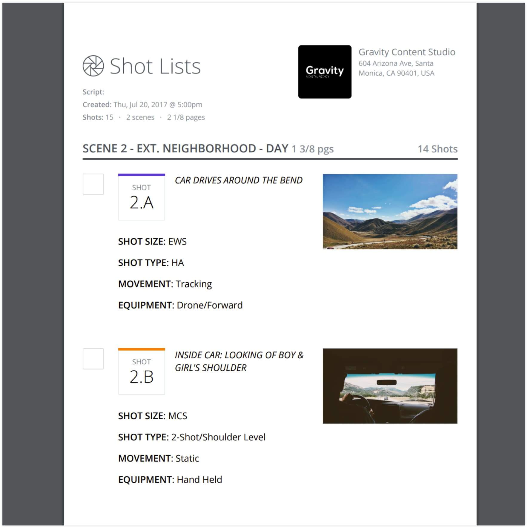 Introducing Shot List and Storyboard Reports - Print-friendly