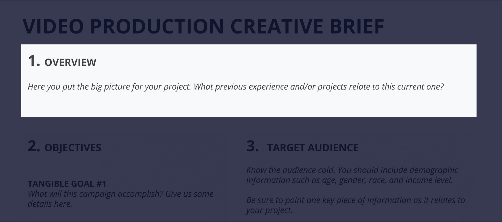 The Best Creative Brief Template For Video Agencies [Free Download] - Section 1 - Overview