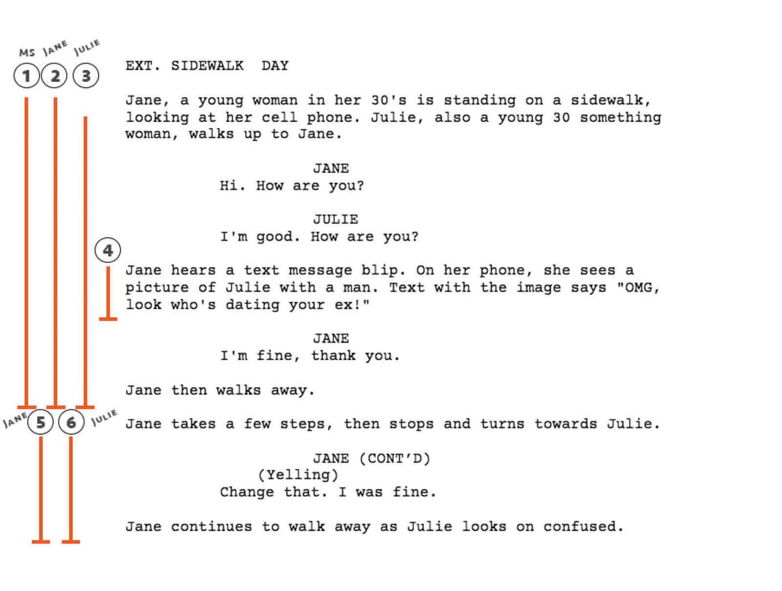how to write a shot in a script
