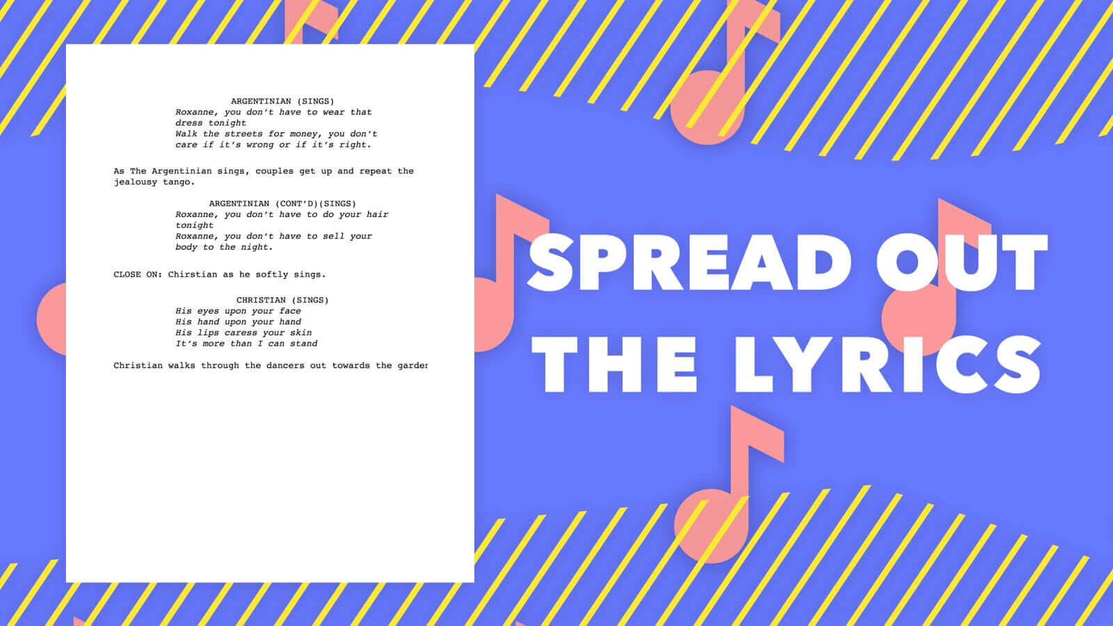 Screenwriting Format - Spread Out Lyrics - StudioBinder