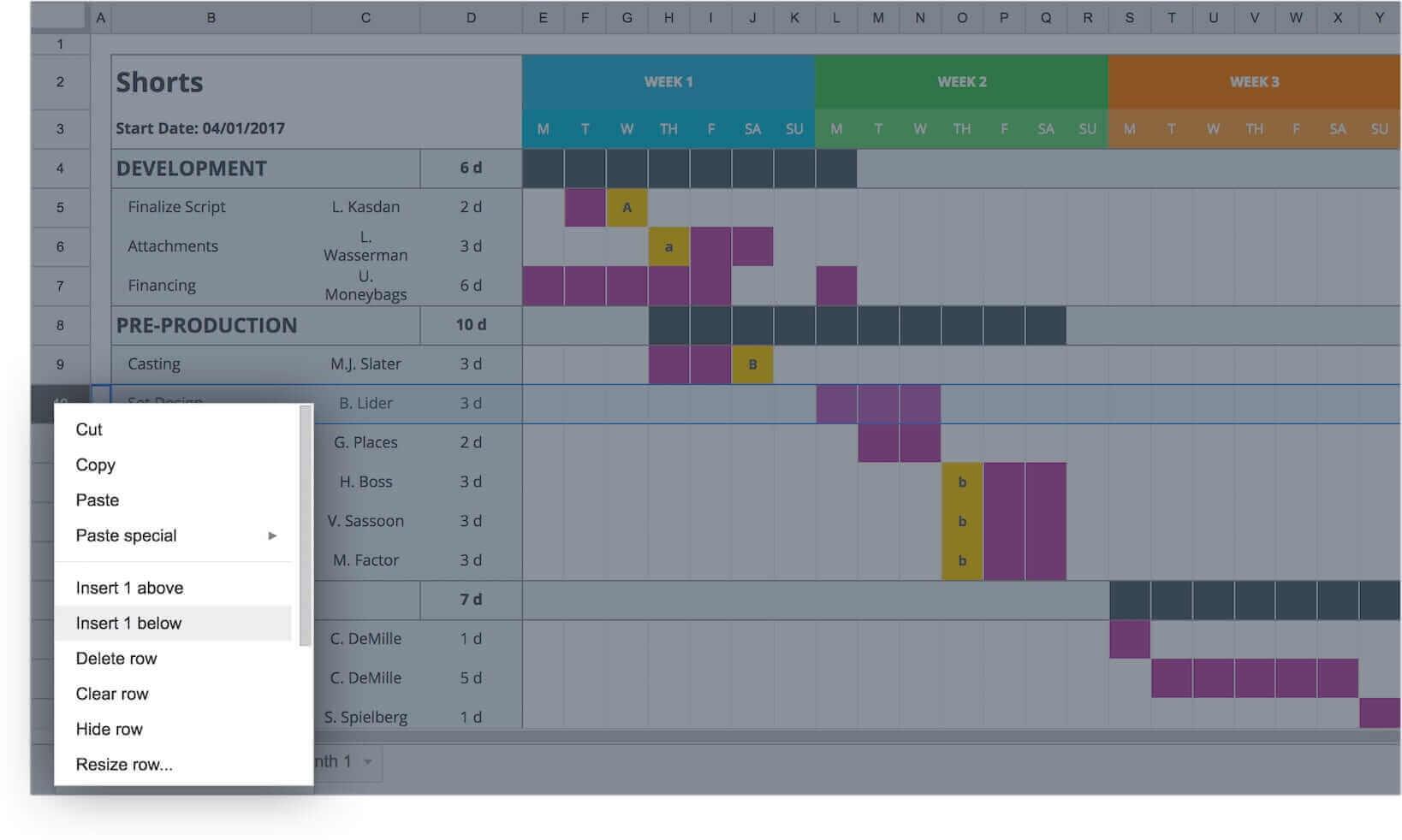 Mastering your production calendar free gantt chart excel template free gantt chart excel template right click studiobinder nvjuhfo Choice Image