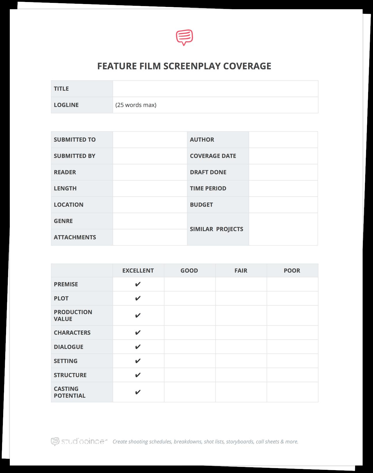 Download FREE Script Coverage Template | StudioBinder
