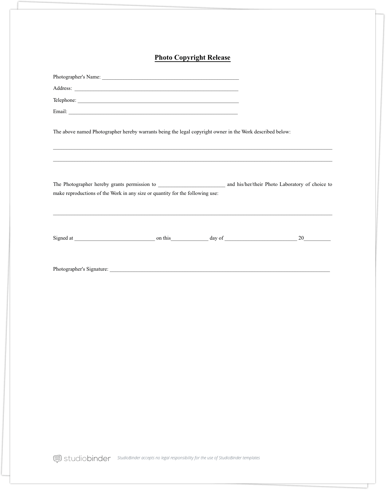 Superior Free Photo Release Form Template   StudioBinder
