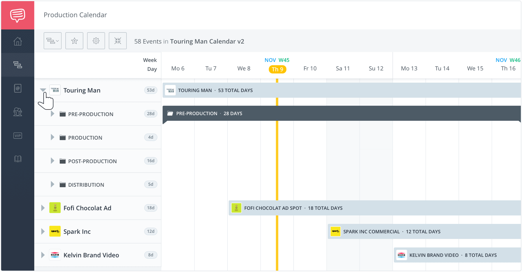 Film TV and Video Production Calendar - View Multiple Calendars on Single Page - StudioBinder Production Management Software