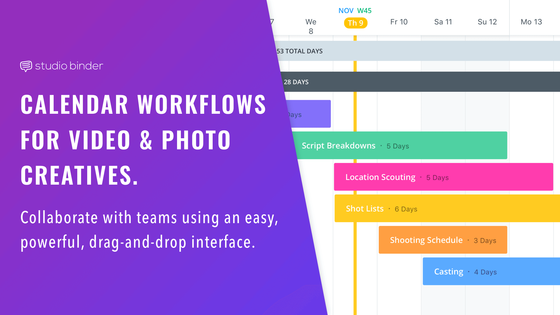 Whether it's a photoshoot, video, feature or TV, StudioBinder modernizes the production experience. Create calendars, storyboards, shot lists, call sheets, etc.
