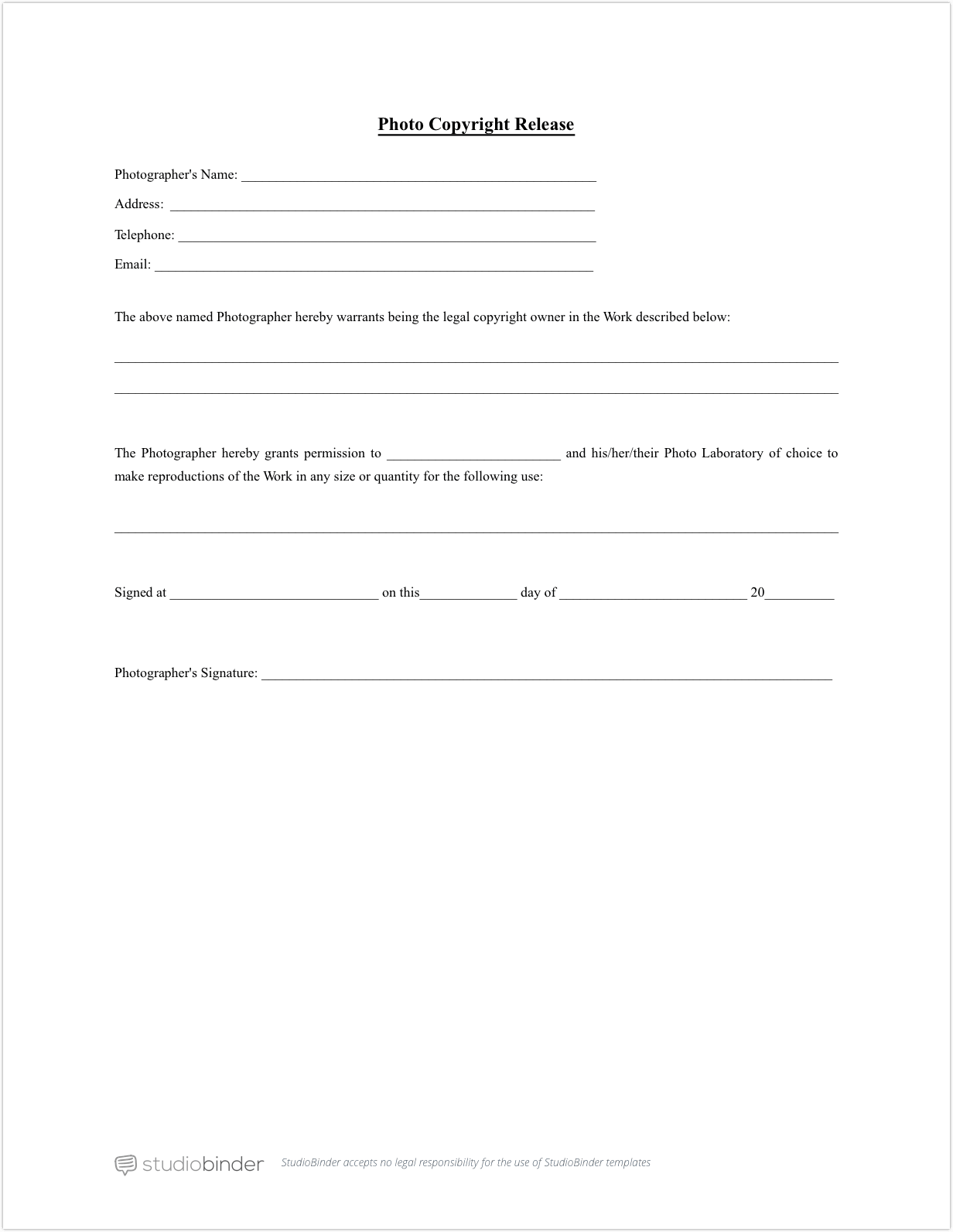 Download free photo release form template studiobinder for Photographic release form template
