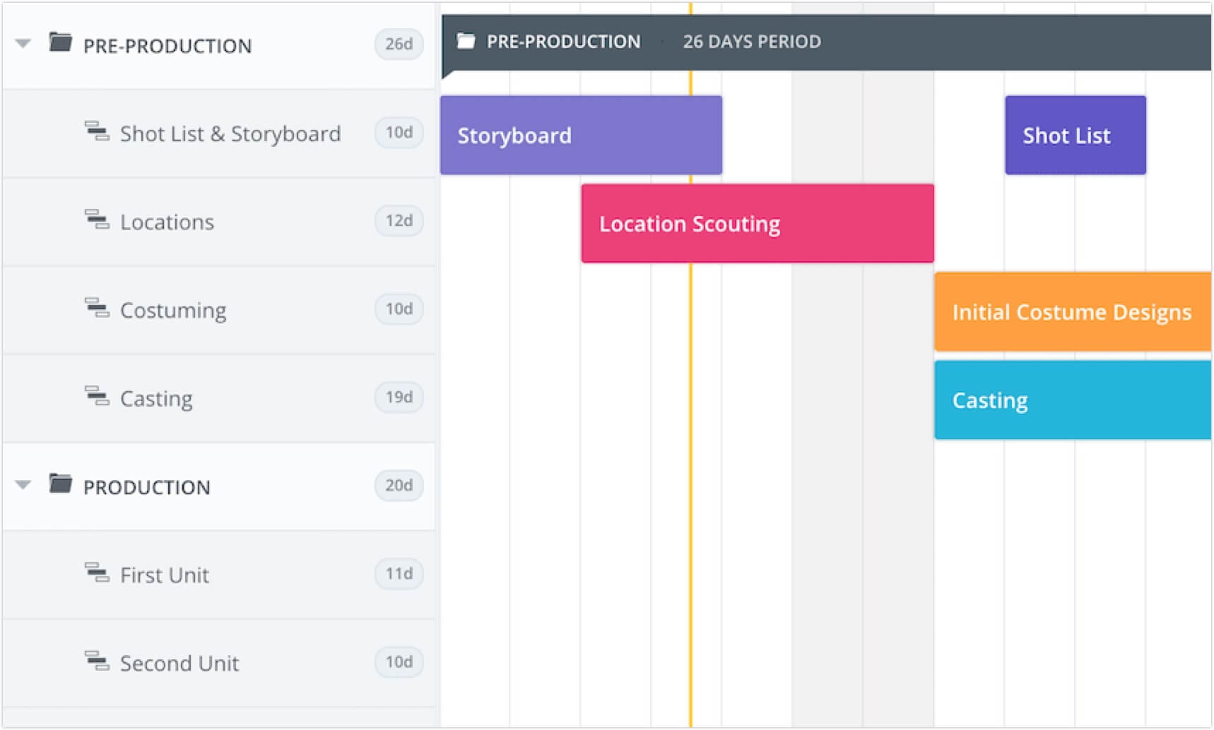 Photo, Video and Film Production Calendar Template and Software - - Pre-Production Period Scheduling