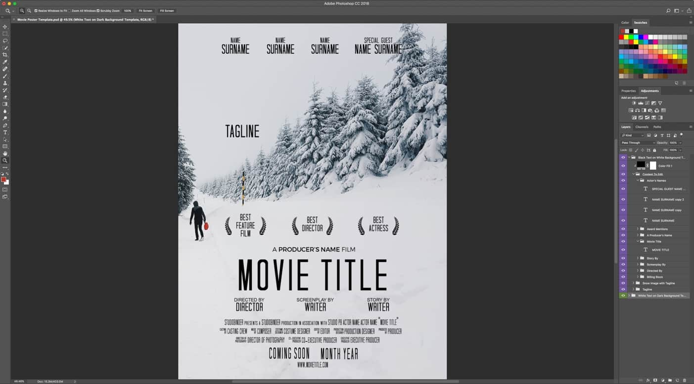 Free Movie Poster Template - Adobe Photoshop - Without Mac