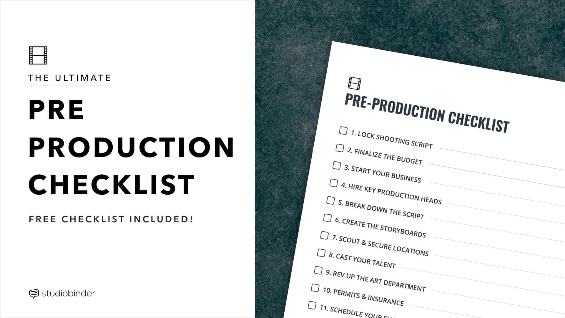 the ultimate pre production checklist for film  u0026 video