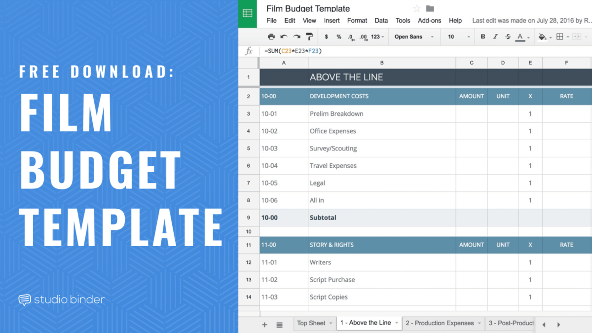 Download your FREE Film Budget Template