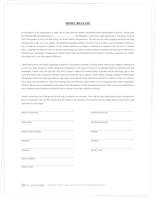 Download a FREE Model Release Form Template   StudioBinder