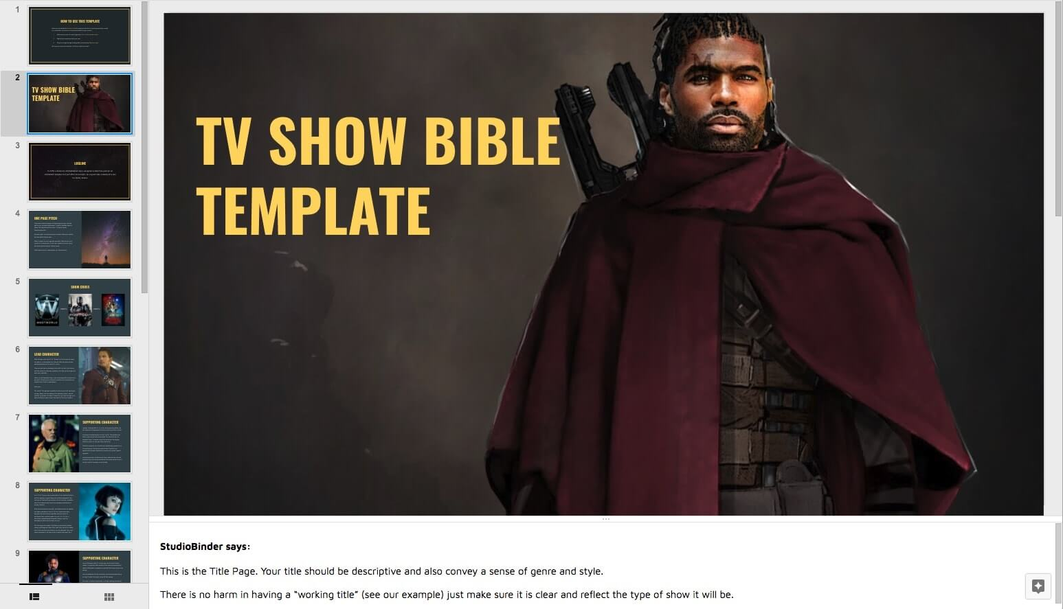 How to Create a TV Show Pitch Bible that Sells - 1st Slide Cover