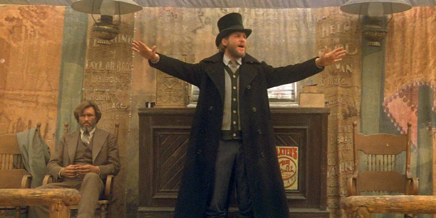 Ultimate Guide To Camera Shots - A Medium Long Shot of Jeff Bridges Giving A Speech In Heavens Gate