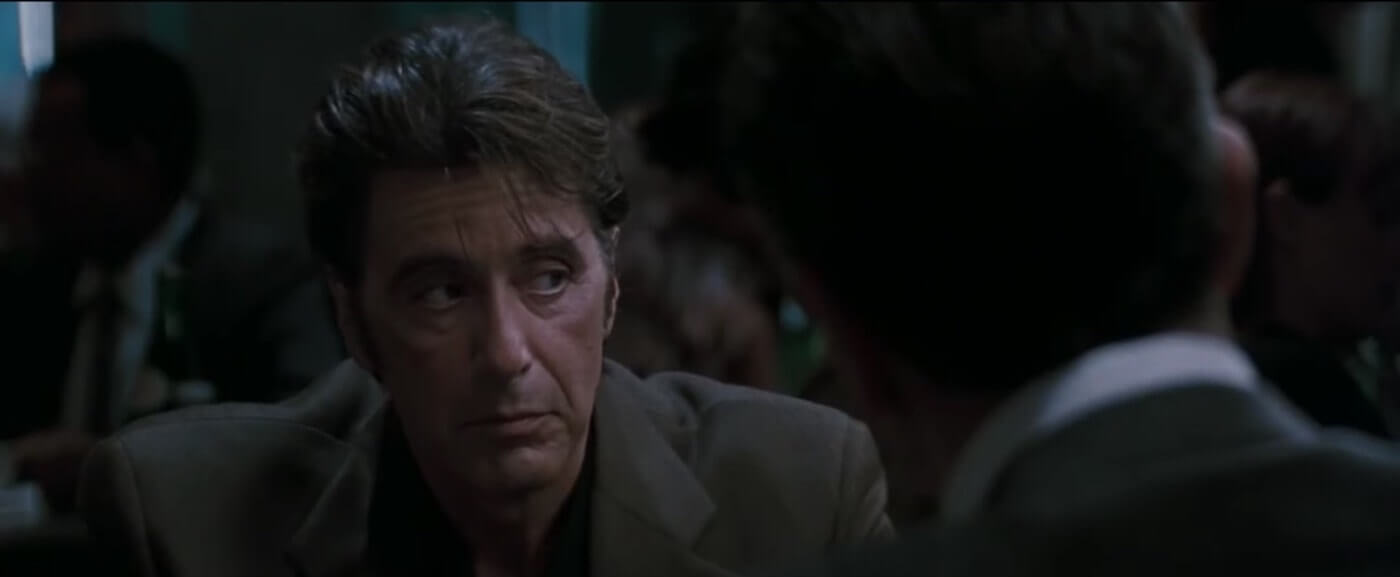 Ultimate Guide To Camera Shots - Al Pacino Framed Over The Shoulder In Heat