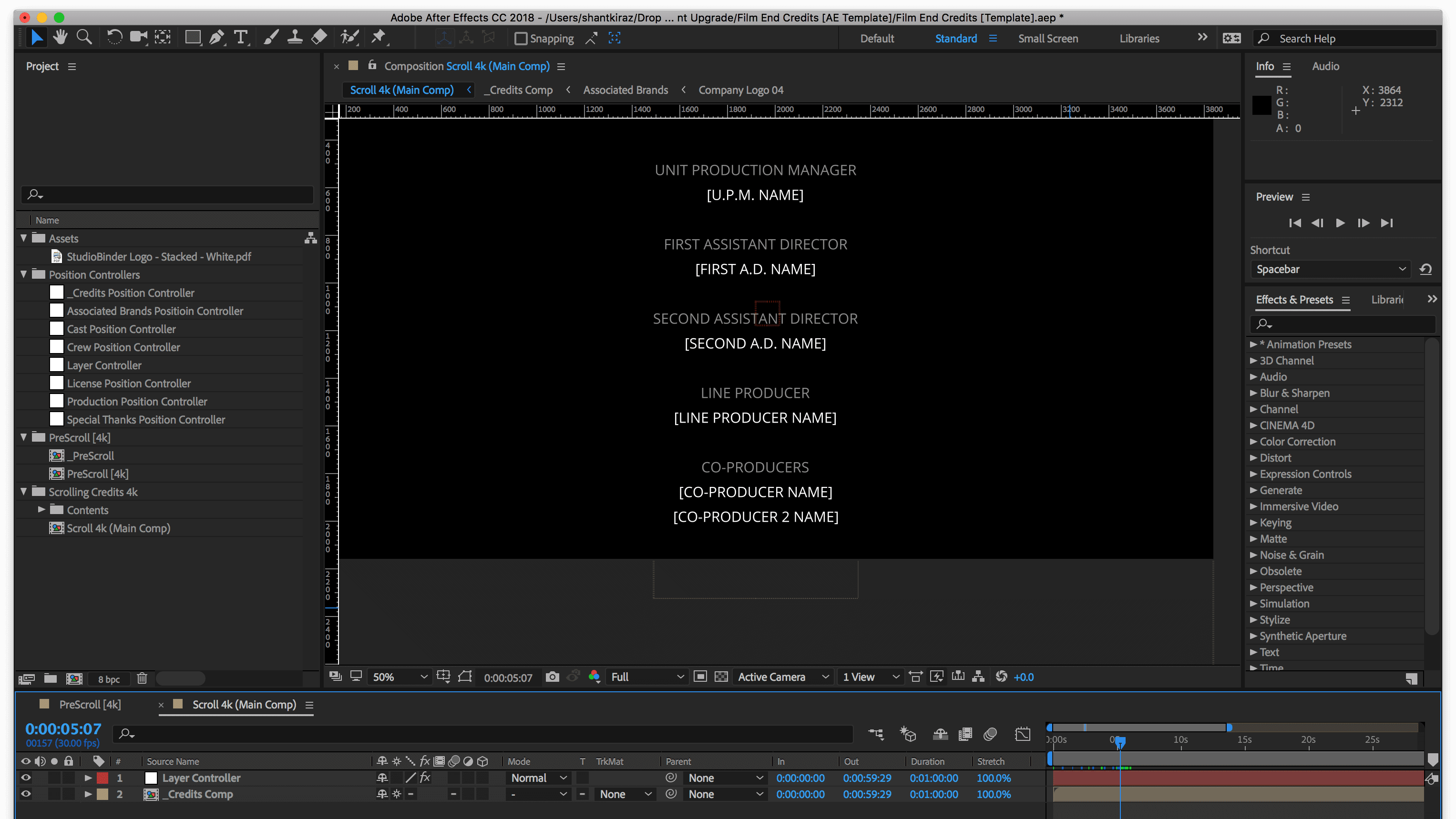 Film Credits Hierarchy Template - Free Adobe After Effects Template - StudioBinder